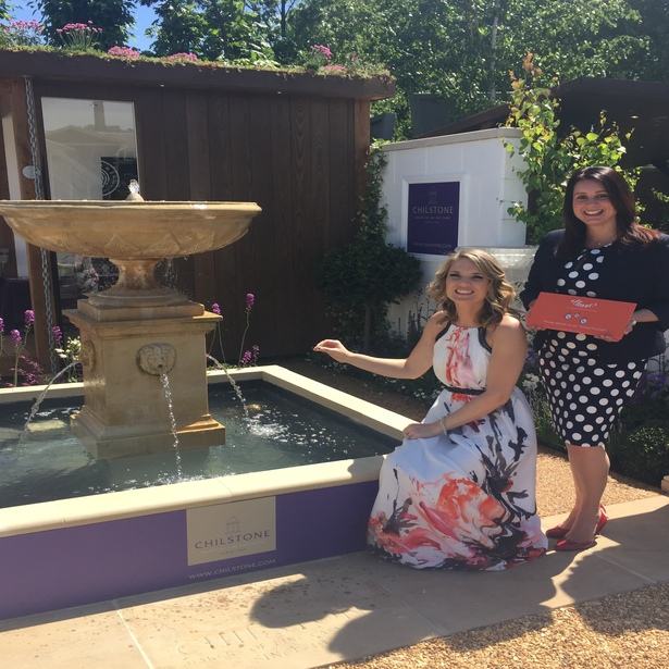Charlotte Hawkins and Cheri from The Ellenor at the Giving Fountain where proceeds will go to The Ellenor