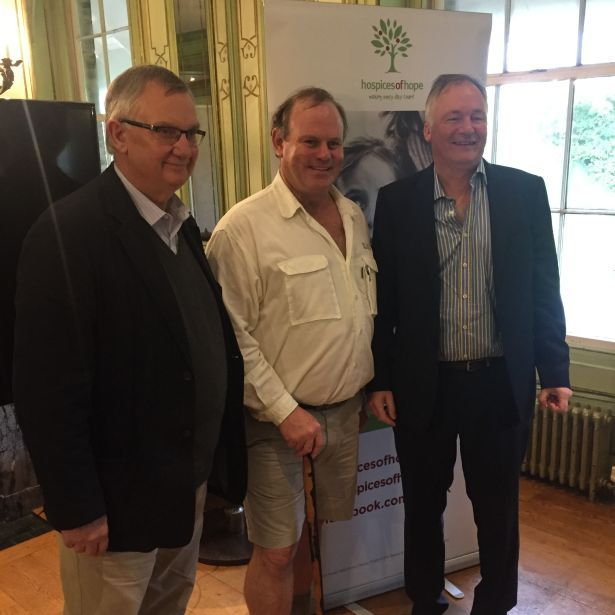 Rob Caskie with Alastair Caisley of Keogh Caisely and Steven Pettitt of Pettitts Travel