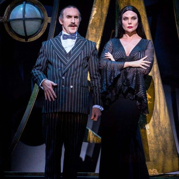 Cameron Blakely as Gomez Addams and Samantha Womack as Morticia Addams in THE ADDAMS FAMILY. Credit Matt Martin (2)