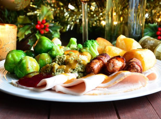 UK christmas dinner turkey sprouts food