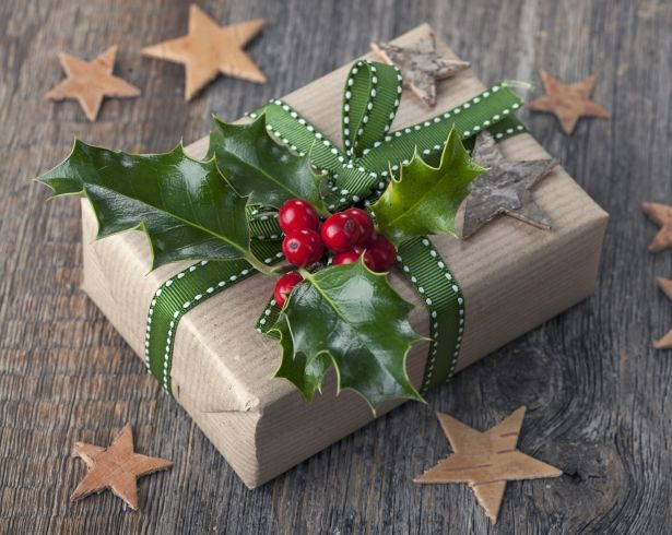 christmas present brown paper holly stars